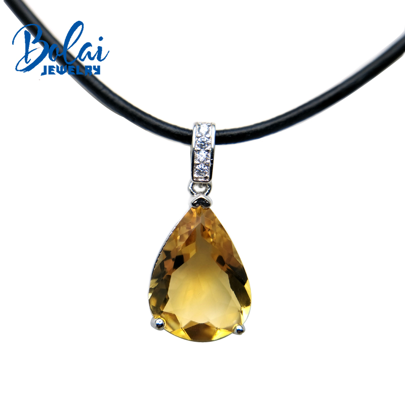 Bolaijewelry,natural citrine pear 12*16mm 7.0ct 925 silver pendant with leather chord necklace for women party & daily wear wwd women s wear daily 2012 11 26
