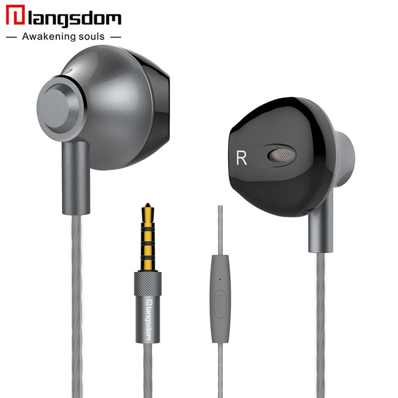 Hot sale Langsdom F9 Metal Phone Earphones Half In-ear Earphone with Microphone Headset Earbuds for phone Xiaomi fone de ouvido