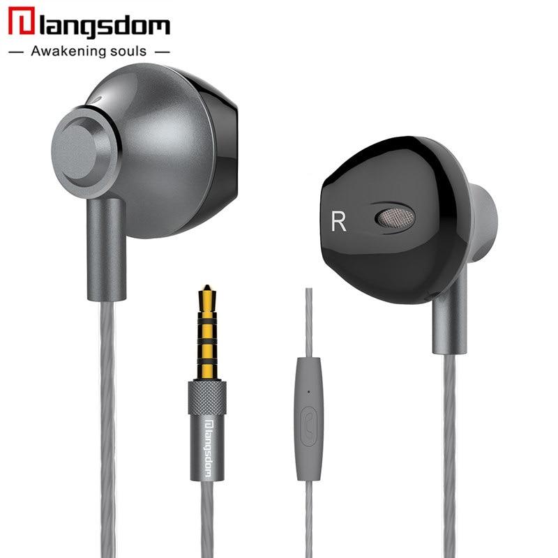 Langsdom f9 metal auriculares super bass hifi half in-ear auriculares con micróf
