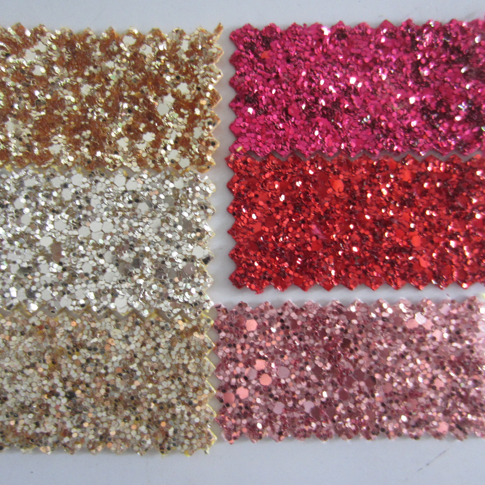 30x134cm Chunky Glitter PU Fabric Matching Colour Backed Red Green Gold Pink Champagne Chunky Glitter Fabric Same Backing AY079