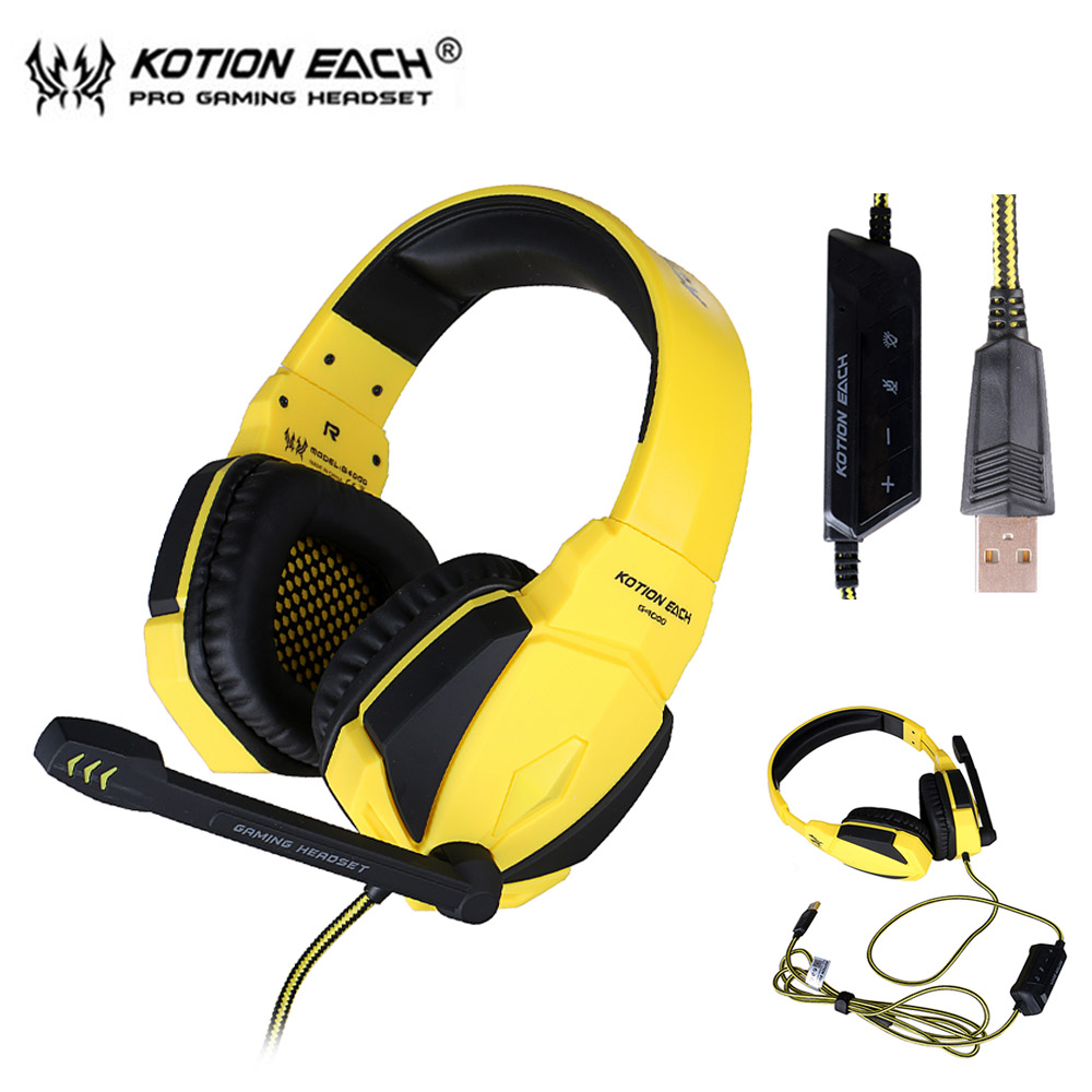 KOTION EACH G4000 PSP USB Stereo Gaming Headphone Headset Headband with Microphone Volume Control LED Light for PC Game 15pcs each g8200 game headphone 7 1 surround usb vibration gaming headset headband earphone with microphone led light for pc