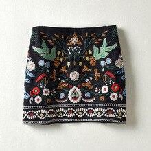 2017 New Arrival High Waist Women Floral Embroidery Skirt Vintage Flower Bust Skrit A-Line Skirt Quality Guarantee MS991