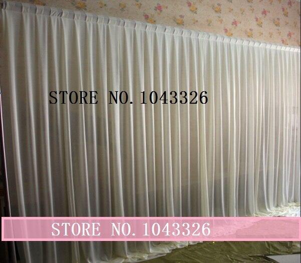 3 m X 6 m (10ft * 20ft) événement de mariage décor de scène tissu blanc glace soie drapé rideau toile de fond