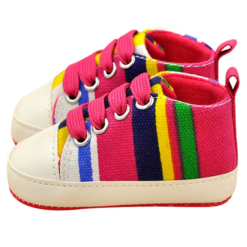 New Baby Boy Girl Soft Sole Shoes Cotton Carvan Sneakers Laces Crib Shoes 0-18M Rainbow Color
