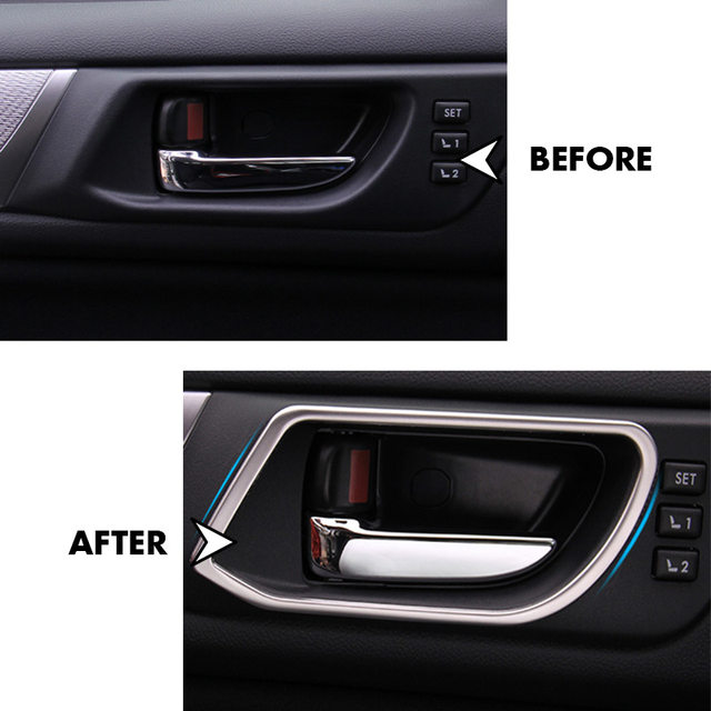 Stainless Interior Door Handles Trim Decal Stickers Fit For 2017 2016 Subaru Outback Accessories Car Styling