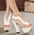 MANMITU5-Free доставка Новая Мода толстый каблук прозрачные туфли женщины на высоких каблуках сандалии девушки peep toe платформа летние каблуки 14 см