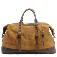 Vintage Military Canvas Crazy Horse Leather Men Travel Carry Luggage Men Duffel Bags Travel Tote Large
