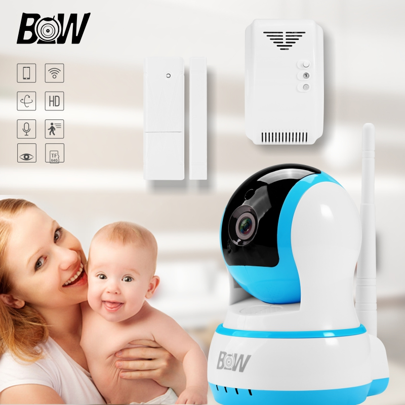 BW Smart WiFi IP Camera Surveillance + Door Sensor /Gas Detector Mini Monitor Home Security Camera Wi-Fi Alarm System BW13B 720p hd ip camera security door sensor infrared motion sensor smoke gas detector wifi camera monitor equipment alarm bw13b
