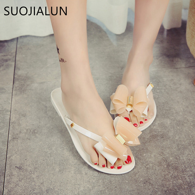 SUOJIALUN Womwn Outside Summer Slippers Flip Flops Fashion Bowtie Jelly Shoes Women Sandals Female Candy Color Beach Shoes women jelly shoes candy sandals luxury brand summer beach flats bowknot shoes casual lady fashional envirionmental shoes female