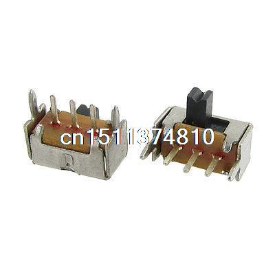 50 Pcs ON/ON 2 Position 3 Pin 1P2T SPDT Panel PCB Mini Slide Switch Right Angle ac 250v 2a on on 2 way 1p2t spdt solder 3 terminals pcb mount toggle switch