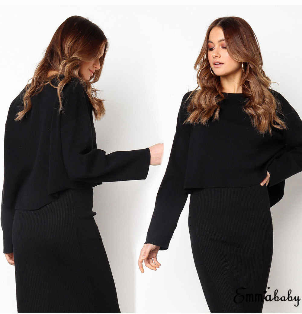 3b80323b9d5d5 ... Sexy 2 Piece Set Women Suit Fall Outfits Black White Batwing Sleeve  Loose Crop Top Knit ...
