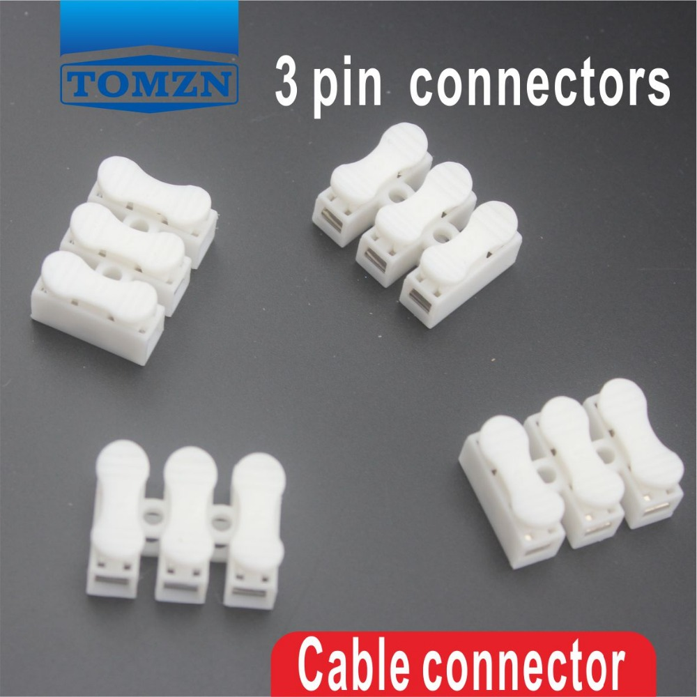 100pcs 3 pin push quick cable connector terminal wiring