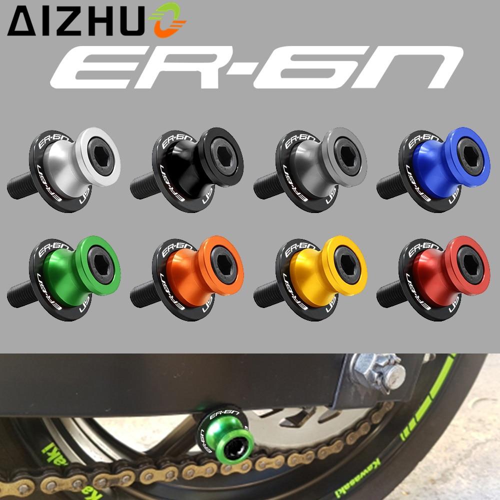 For Kawasaki ER-6N ER6N Motorcycle Accessories 10 mm Swingarm Slider Spools CNC Aluminum Alloy Stand Screws With ER-6N LOGO