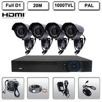 4CH H 264 HDMI Standalone Network DVR Outdoor IR Camera 720P 1000TVL CCTV System