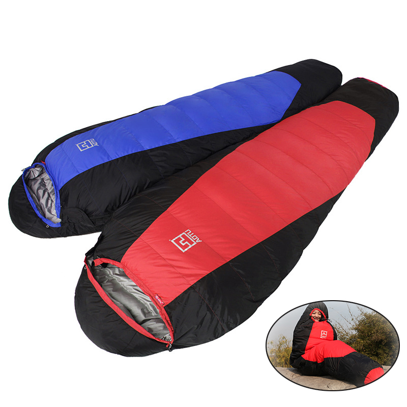 Outdoor Professional Mummy Sleeping Bag Hiking Cold Winter Warm Duck Down Camping Sleeping Bag Adult/Child With Carry Bag 2018 wnnideo adult mummy 4 season sleeping bag warm length adjustable outdoor camping hiking travel zs7 1901