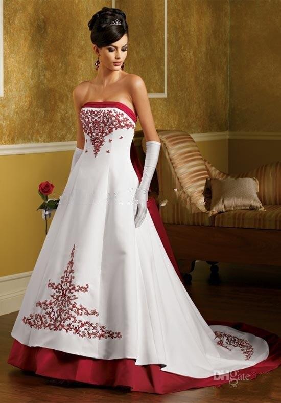 Trouwjurk Rood Met Wit.Strapless A Lijn Trouwjurken Wit En Rood Satijn Kralen Borduren