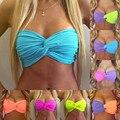2016 Nuevas Mujeres Del Verano Tops de Bikini Sin Tirantes Atractivo Crop Tops Colores del caramelo Push Up De Baño Mujeres Beach Wear Plus tamaño