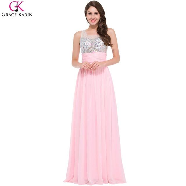 2017 vestidos grace karin pink baile vestidos largos opacidad con ...