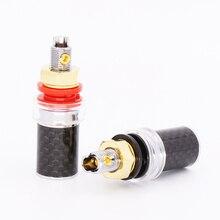 4PCS de Alta Qualidade da Fibra do Carbono Rhodium Binding Post Speaker Amplificador Terminal Binding Post HI END Grau