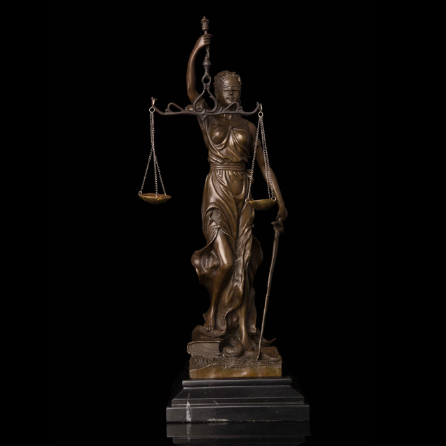 ATLIE Famous Lady Scales of Justice Statue Figurine Bronze Retro Art Decor Classical Greek Mythology Sculpture Business Gifts