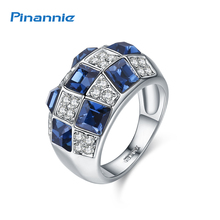 Pinannie Luxurious Gold Color 18KRGP Full of Crystals Queen Rings Jewelry for Women