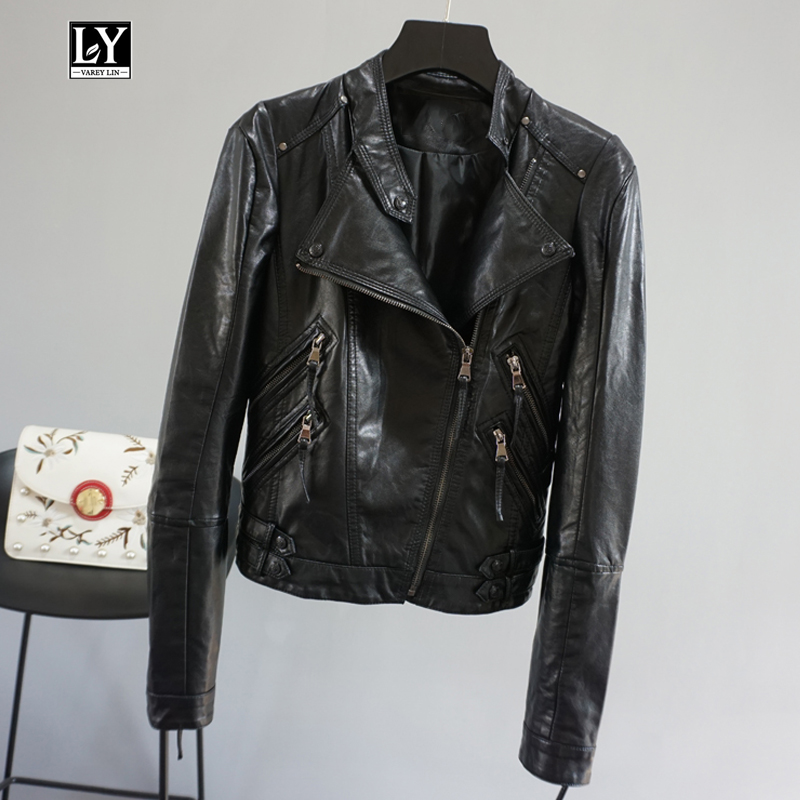 Ly Varey Lin Autumn   Leather   Jacket Coat Turn-down Collar Black Faux Soft   Leather   Short Design Slim Motorcycle Female Outerwear