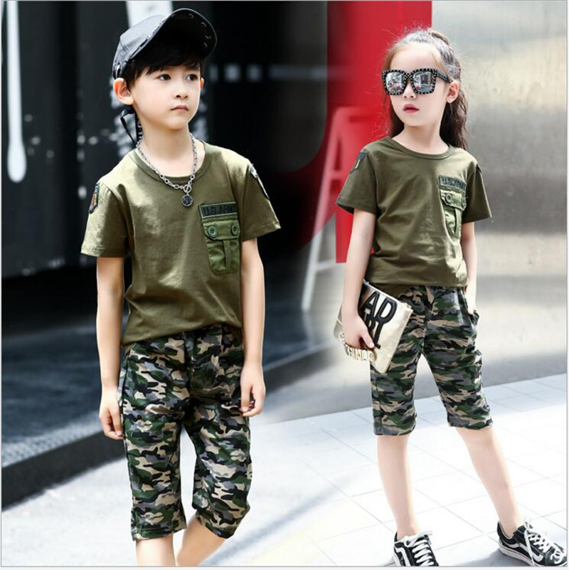 Army Camouflage Baby Boy Girl Set Short Sleeve t shirt With Pants Girls Fashion Suit Boy Casual Sport Suits Kids Clothes Set 2018 kids girls clothes set baby girl summer short sleeve print t shirt hole pant leggings 2pcs outfit children clothing set