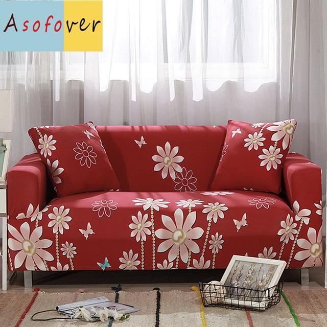 1PC Red Royal Garden Sofa Covers For Living Room Slipcover Sofa ...