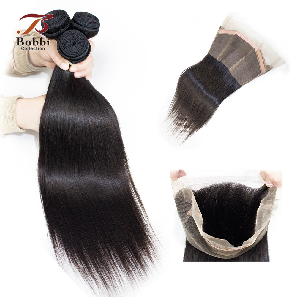 BOBBI COLLECTION 360 Lace Frontal With Bundle Brazilian Remy Hair Weave Straight Human Hair Extensions 3 Bundles with Closure