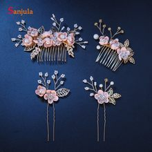 Pink Flowers Bridal Comb With Gold Leaves Hand-made Crystals Pearls Wedding Headpieces Bride Pins accesoire pour mariage T139(China)