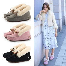 New unique autumn and winter sweet comfortable womens shoes high-top can be turned over Sheepskin with wool women Loafers