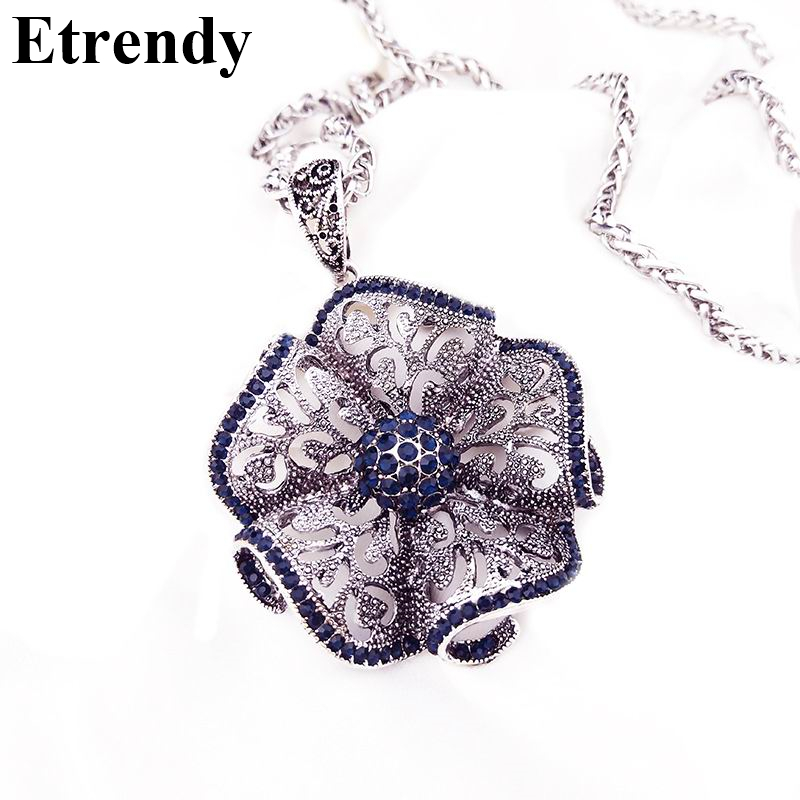 Vintage Flower Long Necklaces & Pendants For Women New Fashion Jewelry Wholesale
