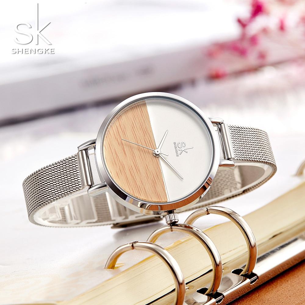Shengke New Women Watches Luxury Brand Watch Rose Gold Women Quartz Clock Creative Wood Pattern Dial Fashion Wristwatch 2017 SK
