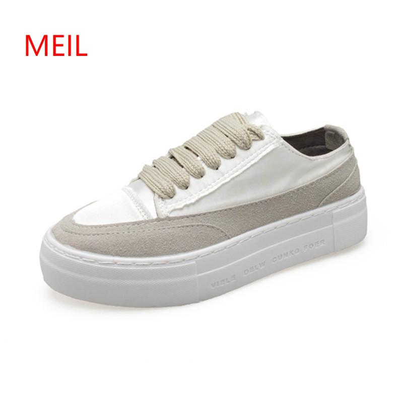 Women White Sneakers Platform Woman Dirty Shoes 2018 Autumn Female Casual Shoes Silk Brand Design Lady Dirty Sneakers Quality