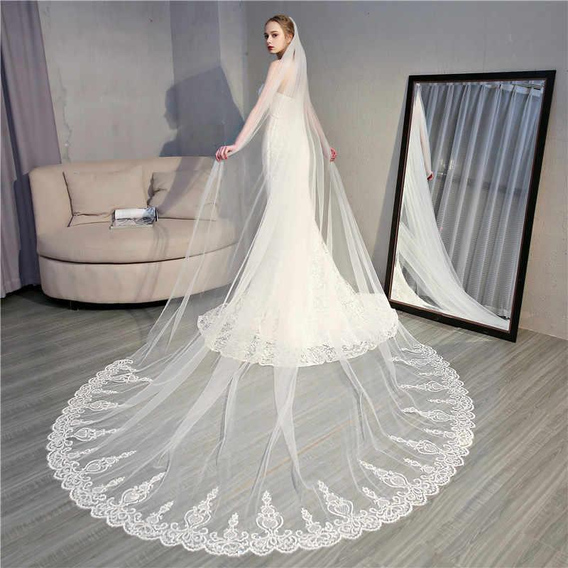 יוקרה כדור שמלת שנהב שמלות כלה עם רעלה גבוהה צוואר קצר שרוול 3d פרח כלה שמלות קתדרלת רכבת גלימת דה mariee