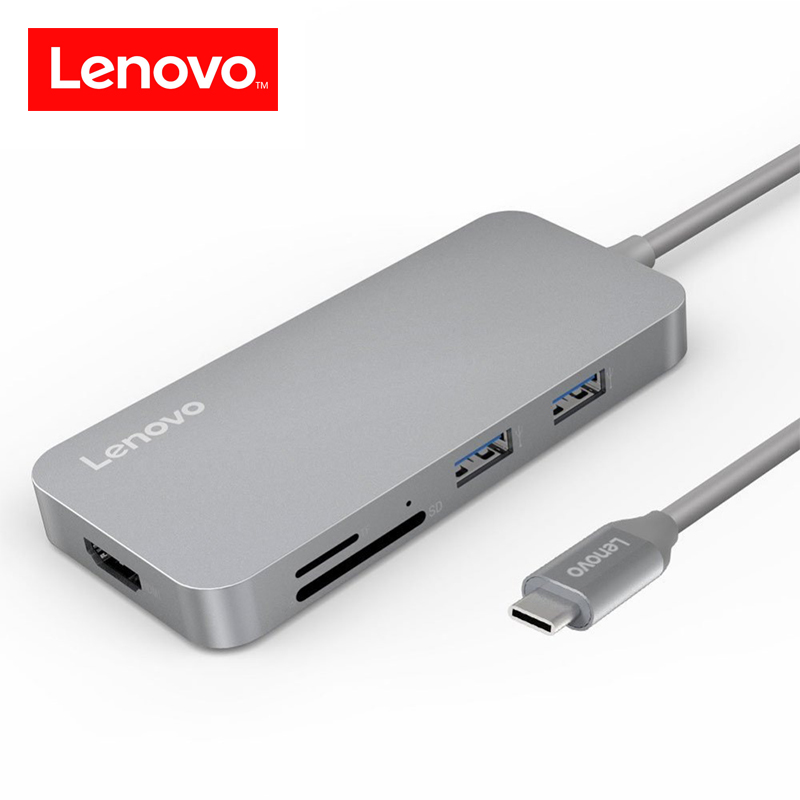 Lenovo 7-in-1 USB-C USB C Hub with Type-C Power Delivery 4K Video HD SD/TF Card Reader USB 3.0 HUB for MacBook Pro Type C Hub