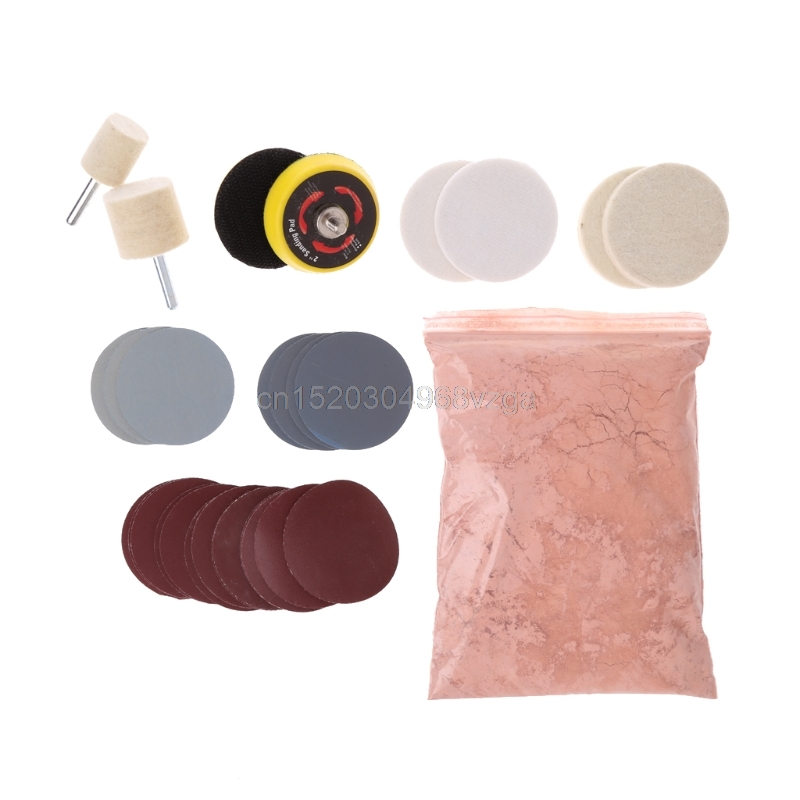 34 Pcs Deep Scratch Remover Car Glass Polishing Kit 8 OZ Cerium Oxide and 2 Wheel #H028# Drop shipping