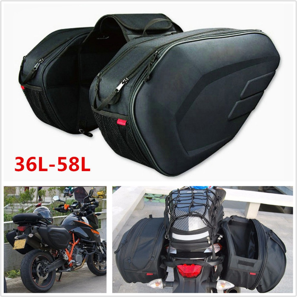 Universal fit Motorcycle komine Bags Luggage Saddle Bags with Rain Cover  36-58L 005b4251838c3