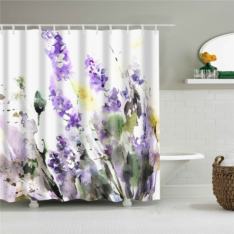 Waterproof Bath Shower Curtains 3d Flowers Printing Custain for Bathroom High Quality Polyester Bath Screen Home Decoration