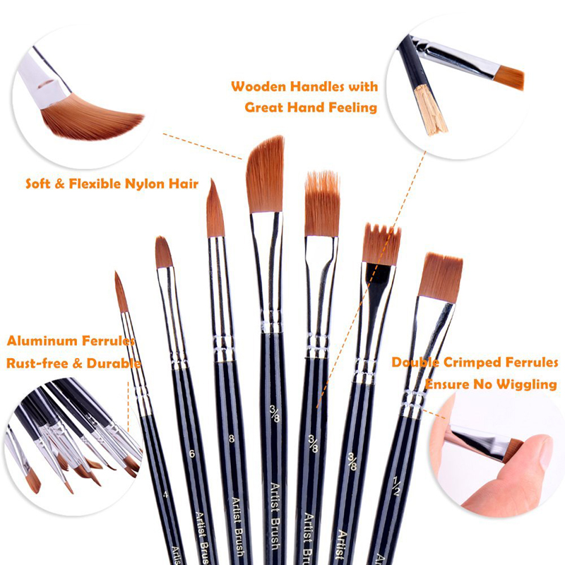 Painting Supplies Office & School Supplies 13pcs Artist Filbert Nylon Hair Acrylic Painting Brush Set For School Children Drawing Tool Watercolor Brush Art Supplies Strong Packing