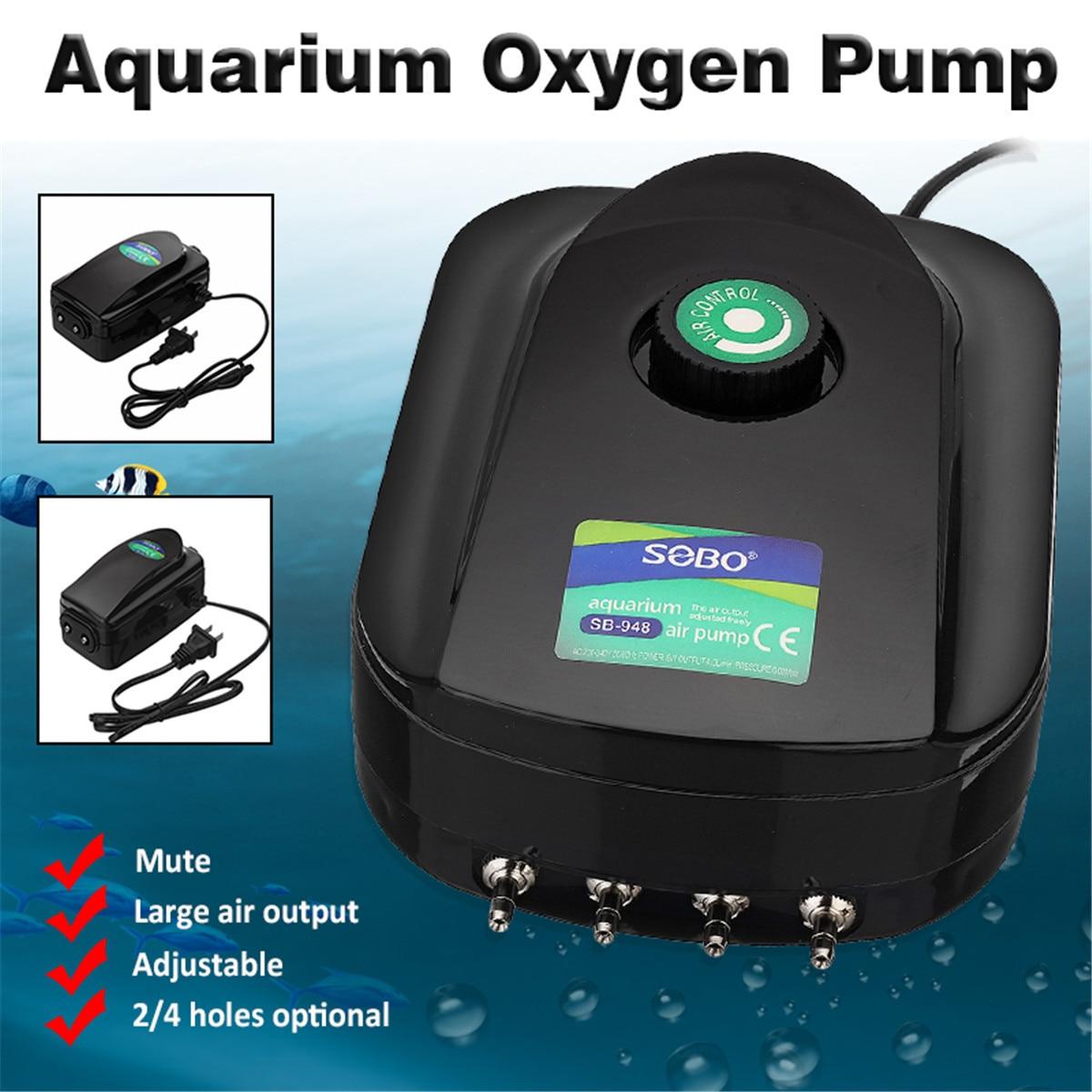 Ultra-Silent Aquarium Air Pump Adjustable Large Air Output 2/4 Holes Fish Tank Increasing Oxygen Pump Air Compressor Accessories