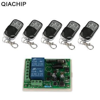QIACHIP 433 MHz zdalnego sterowania przełącznik nadajnik zdalnego sterowania przełącznik + RF przekaźnik odbiornik zdalnego sterowania dla lampy sufitowe światło tanie i dobre opinie AC 110V 220V 1CH 10A Wireless Remote Control Switch Receiver Diy Kits Z tworzywa sztucznego ROHS Przełączniki 1 Year RF Remote Control Touch Panel Sensor Interrupteur Wall Light Sw