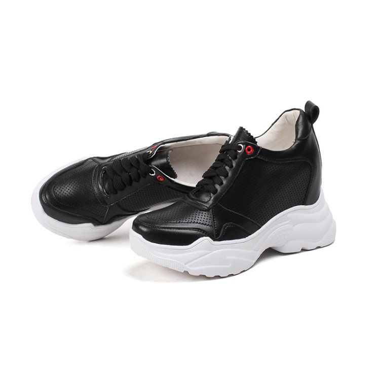 Otoño Mljuese Zapatos Talón Up Negro Black Lace Recortes Cuñas Mujeres Color Leather white 2018 Vaca Primavera Vulcanizar Zapatillas Oculto q7qwvra
