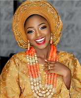 Luxury Nigerian Wedding African Coral Beads Jewelry Set for Brides Dubai Indian Gold Bridal Statement Necklace Set CNR694