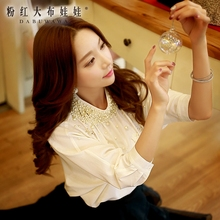 dabuwawa new autumn 2016 women's fashion big sizes stand collar new luxury beaded shirt female elegant blouse