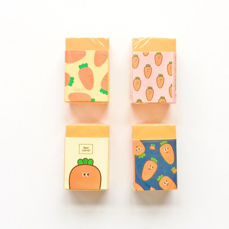 Cute Gifts Items Kawaii Cute Cartoon Carrot Eraser Pencil Rubber Novelty For Kids School Supplies Student Office Stationery