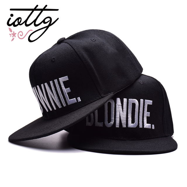 9d541c08 IOTTG High Quality BLONDIE BROWNIE Embroidered Baseball Cap Hip Hop Hat  Couple Best Gift Snapback Cap Casual Cap