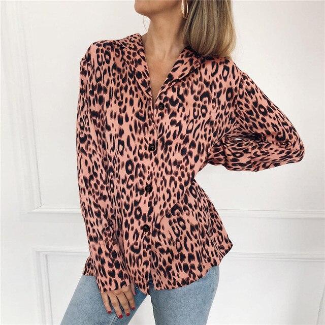 Women Blouses Autumn Vintage Leopard Blouse Long Sleeve Turn Down Collar Lady Office Shirt Loose Tops Plus Size Blusas Chemisier 2