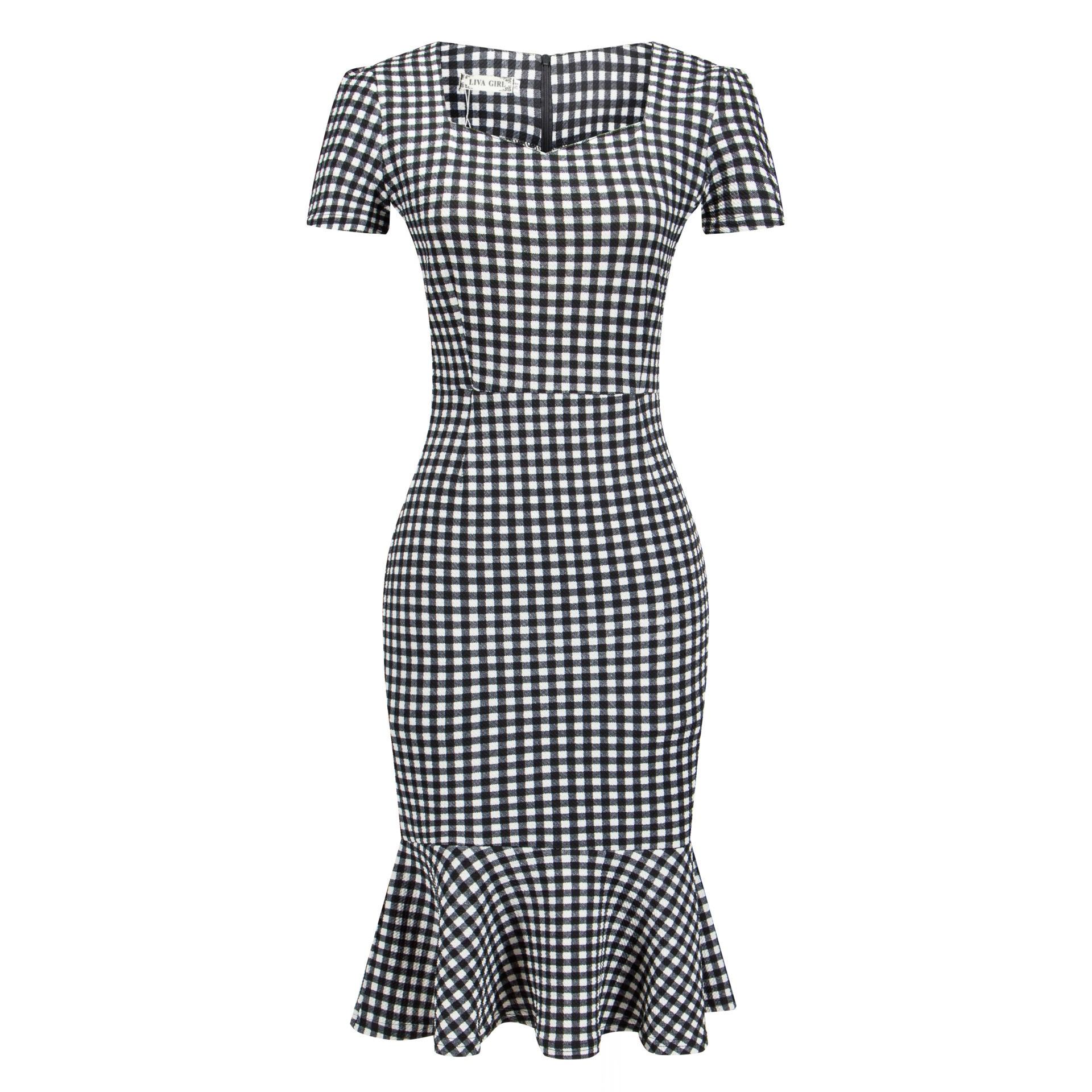 2fb1d9ebe8b 2018 Summer Office Midi Dress Women Plus Size Dress Xxxl Mermaid Plaid  Black Elegant Work Lady Dresses Bodycon Formal Fashion-in Dresses from  Women s ...