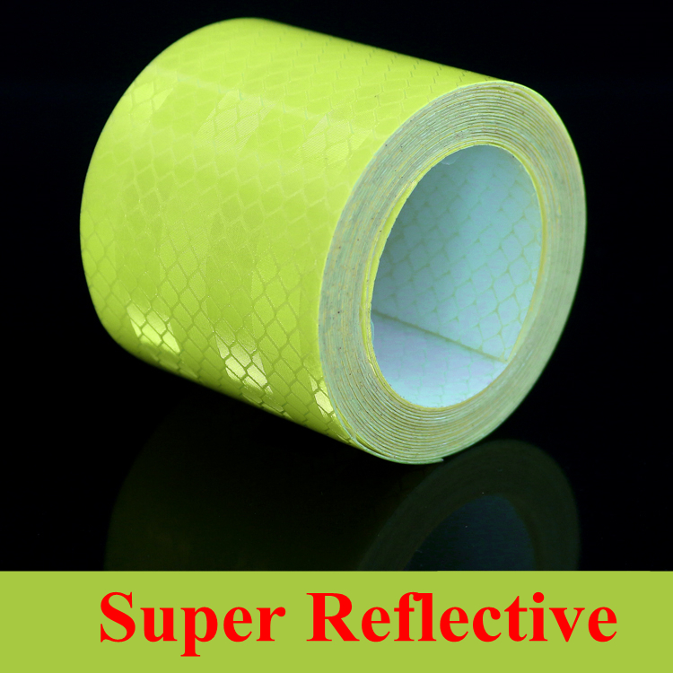 Realistic 3m*5cm Motorcycle Decoration Reflective Adhesive Tape Fluorescent Green Stickers For Car Styling Strips Auto Safety Warning Tape Exterior Accessories